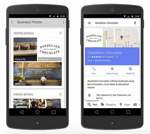 Google My Business su smartphone