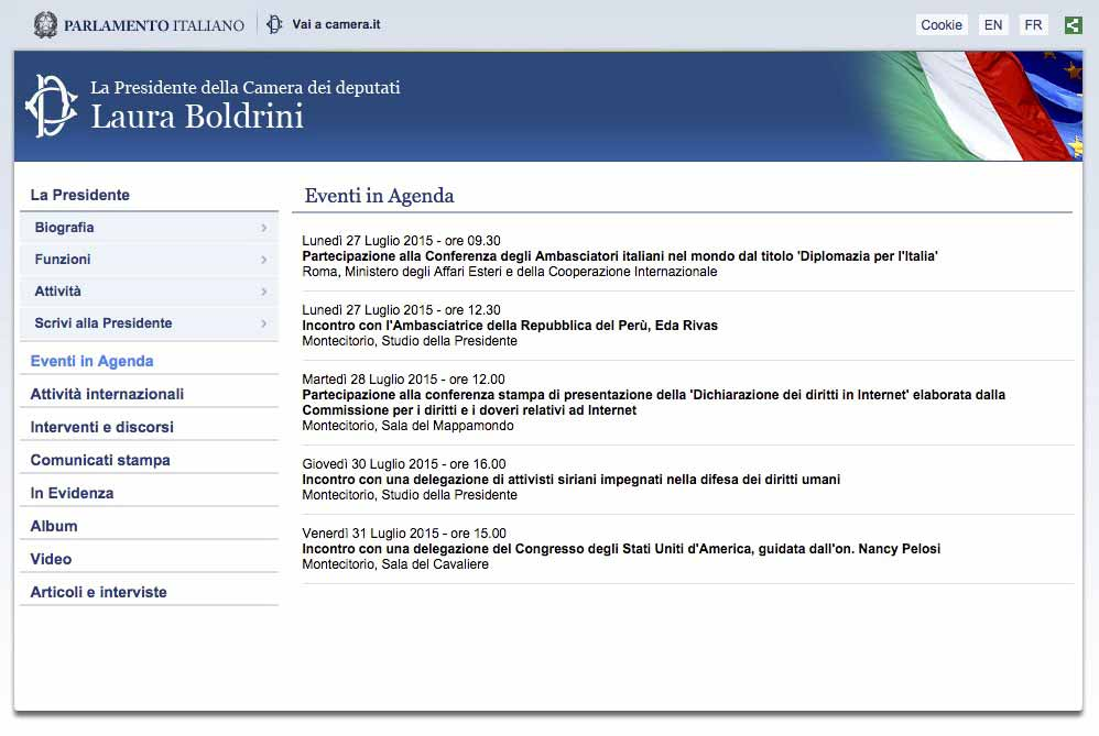 Screenshot agenda, Laura Boldrini